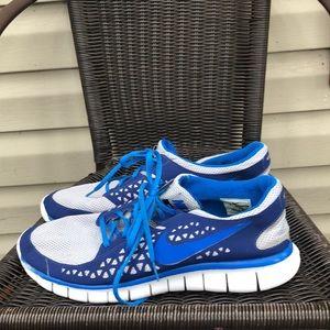 Nike Free Run men's gray, blue&white mesh sneakers